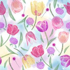 Panel Szklany Tulipany seamless floral pattern