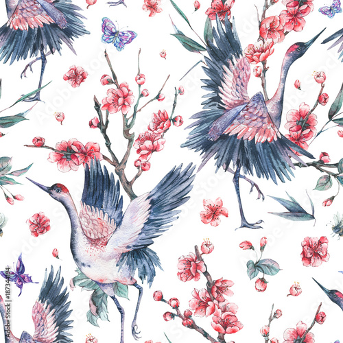 Cotton fabric Watercolor seamless patern with crane, pink flowers blooming bra
