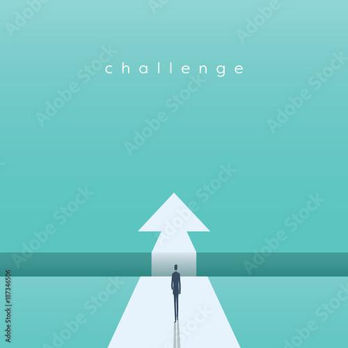 Fotografie, Obraz  Business challenge concept with businessman walking towards gap
