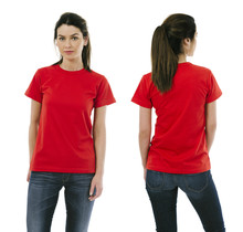 Brunette Woman Wearing Blank Red Shirt