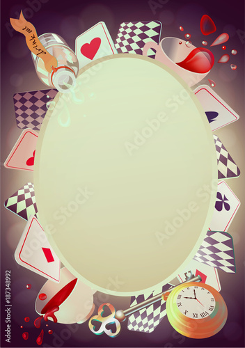 Alice in Wonderland. Playing cards, pocket watch, key, cup and ...