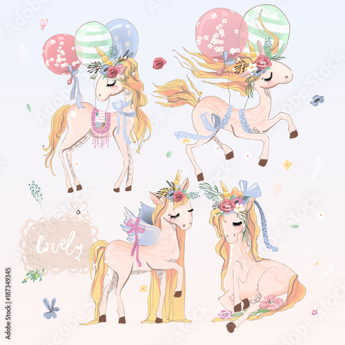 collection-set-of-beautiful-hand-drawn-unicorns-with-balloons-wings-and-floral-flowers-wreath-romantic-and-beautiful-hand-drawn-magic-vintage-baby-horse