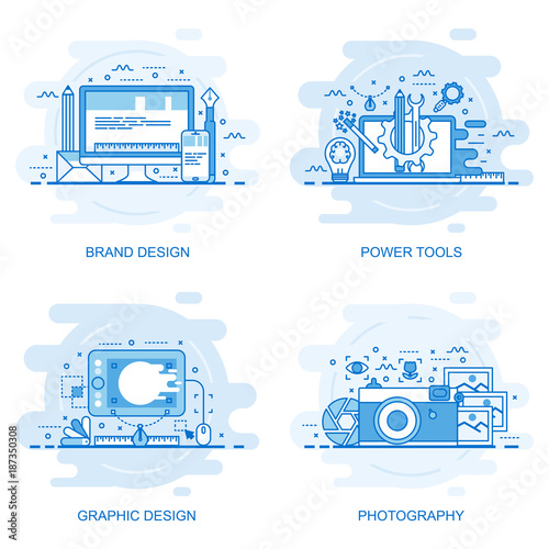 Modern flat color line concept web banner of Photography, Graphic Design, Power Tools and Brand Design. Conceptual vector illustration for web design, marketing, and graphic design. Wall mural