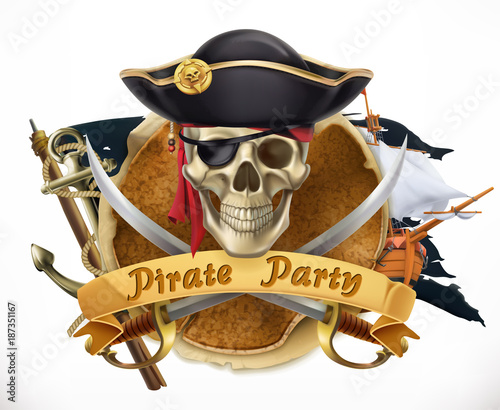 Photo Pirate party. 3d vector emblem