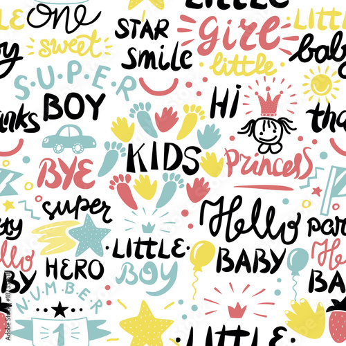 Printed kitchen splashbacks Seamless baby pattern with words and inscriptions Princess, Baby, Boy, Girl, Hero, Number one.