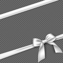 Realistic White Bow And Ribbon...