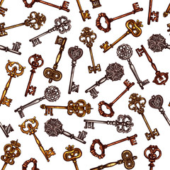 FototapetaVintage brass keys vector seamless pattern