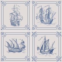 Old Caravel. Ship On The Blue Dutch Tile. Imitation. Frigate, Vintage Sailboat, Sailing Vessel , Glazed Porcelain Ceramic.