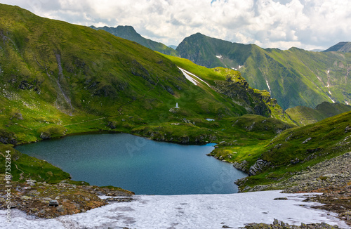 gorgeous view of lake in high mountains. lovely summer landscape with snow on grassy hills