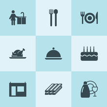 Set Of 9 Plate Filled Icons