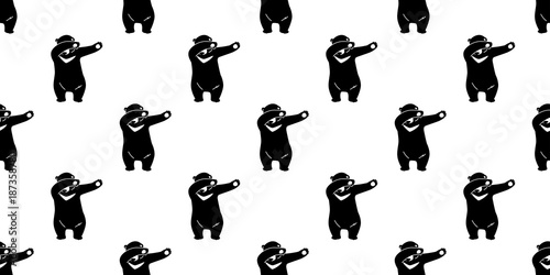 seamless pattern bear polar bear dab dance vector isolated wallpaper