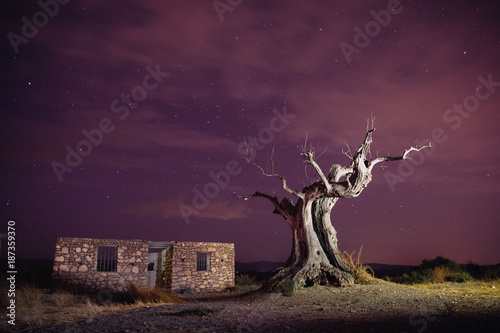 noche en el desierto de tabernas Canvas Print