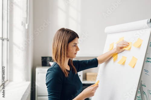 Fotografie, Tablou Young woman sticking sticky notes to flip chart