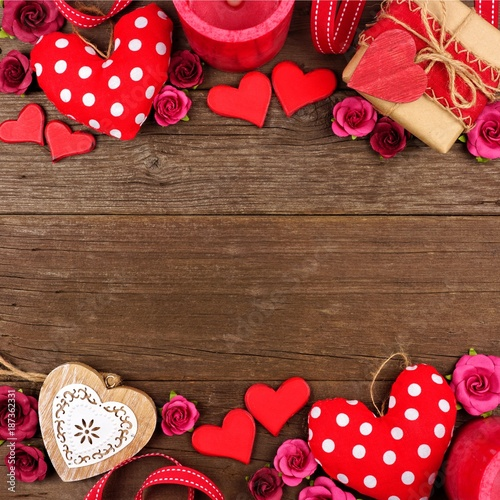 Valentines Day Double Border Of Hearts Gifts Flowers And Decor Against A Rustic Wood