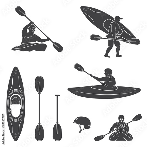 Photo Set of extrema water sports equipment, kayaker and canoe silhouettes
