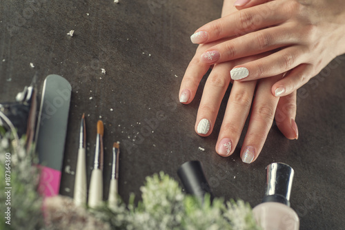 Aluminium Prints Manicure winter theme nails design and manicure, instruments for manicure with needles