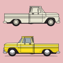 Retro Pickup Truck On Color Background
