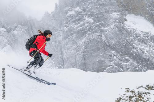 Fotobehang Wintersporten Freeriding im Hochgebirge