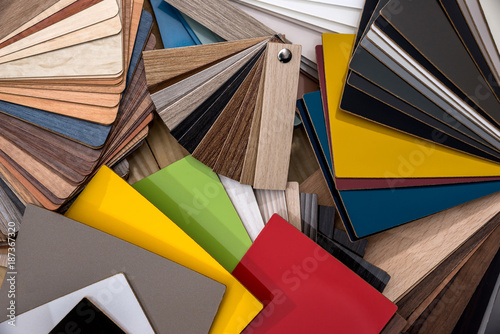 Vászonkép Catalog of samples of wood chips in color.