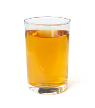 Fresh Apple Juice In A Glass Beaker Isolated On A White Background