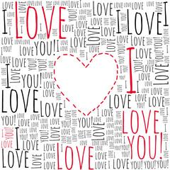 Plakat Love. Valentine's card. I love you.