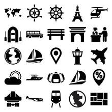 Travel Icons. Set Of 25 Editab...