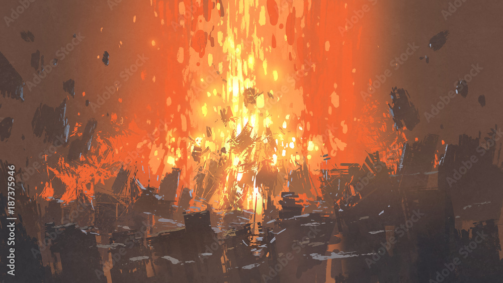 Fototapety, obrazy: scene of apocalyptic explosion with many fragment of buildings, digital art style, illustration painting