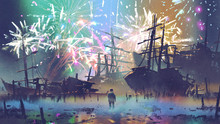 Man Standing On The Beach Looking At Wreck Ships With Fireworks On Background, Digital Art Style, Illustration Painting