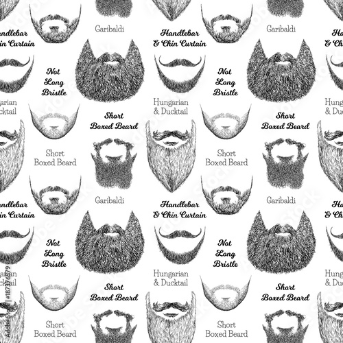 Strange Seamless Pattern With Beards And Mustaches Hand Drawn Natural Hairstyles Runnerswayorg