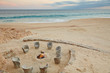 Outdoor firepit on the beach at dusk