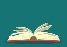 Open Book On Teal Background. ...