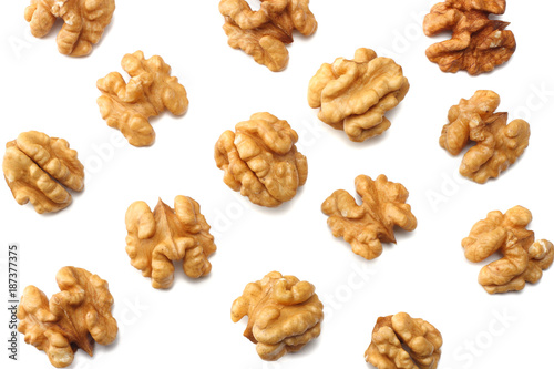 Fotografía  Walnuts isolated on white background top view