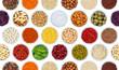 Kräuter und Gewürze Gemüse Sammlung Hintergrund Nüsse von oben