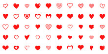 Design Red Heart Shapes Icons Set. Simple Illustration Of 50 Heart Love Day Valentine Vector Icons For Web