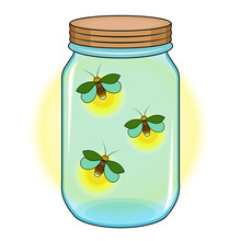 Bank With Fireflies, Green Firefly In A Blue Jar, Yellow Glow, White Background, Isolated