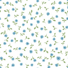 Cute Floral Seamless Pattern. Repeated Small Blue Flowers And Green Leaves On White Background.