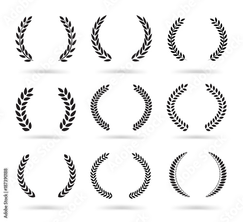 Photo  Set of black laurel wreaths isolated on white background