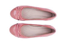 Female Fashion Shoes Pink With Ribbon Top View Isolated On White Background