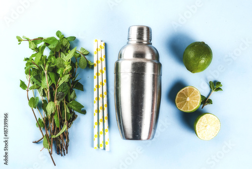 Fotografia Ingredients for cocktail mojito or lemonade - lemon, lime, mint, sugar, with shaker and cocktail straws