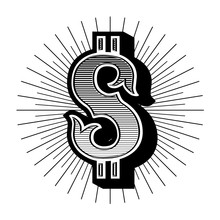 Dollar Sign Vintage. Vector Em...