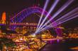 canvas print picture - Sydney Harbour Bridge Vivid