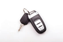 Car Key Isolated On White Back...