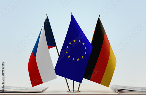 Flags of Czech Republic  European Union and Germany Poster