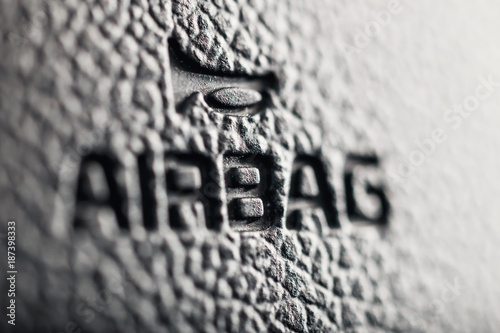close up of symbol of airbag on steering wheel Wallpaper Mural