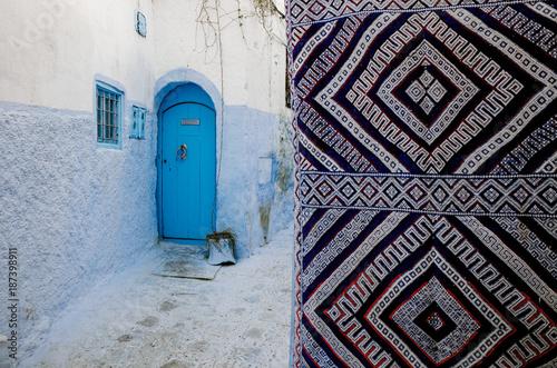 Blue door in Chefchaouen,Bright street of oriental city