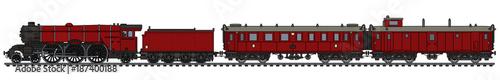 Fotografie, Obraz The vintage red passenger steam train