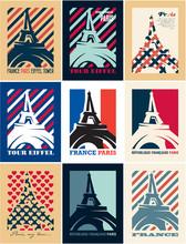 Paris, Eiffel Tower, France, Retro Vintage Posters Templates, Art Deco Style Posters, Travel Postcards