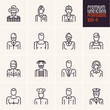 professions icons set, people occupations, business, workers, employee, linear people icons isolated vectors