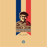 French food, French cuisine restaurant logo, French man icon, bon appetit - 187400996