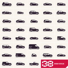 Cars Icons Set, Different Vector Car Types Silhouettes